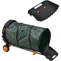 Chariot Ramasse-Feuilles et Pelle avec Sac à Déchets Verts de 160 l Porte-Outil Verts Noir Orange Vert