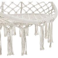 Siège Rond Hamac Chaise Suspendue à Franges Jusqu'à 150kg avec 4 Cordes d'Attache pour Intérieur Extérieur Diamètre d'Assise 60cm Crème