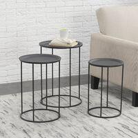 Set de 3 Tables Gigognes de Salon Ensemble de 3 Tables Basses Métal Noir Tailles Différentes