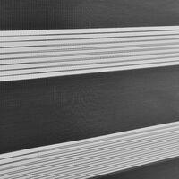 Store Enrouleur Zébré Stylé sans Perçage pour Tamiser la Lumière Store à Chainette Latérale Réglage en Continue Bandes de Tissu Polyester 80 x 220 cm Gris Foncé