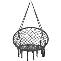 Siège Rond Hamac Chaise Suspendue à Franges Jusqu'à 150 kg avec 4 Cordes d'attache pour Intérieur Extérieur Diamètre d'Assise 60 cm Noir