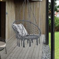 Siège Rond Hamac Chaise Suspendue à Franges Jusqu'à 150 kg avec 4 Cordes d'attache pour Intérieur Extérieur Diamètre d'Assise 60 cm Gris Foncé