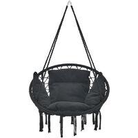 Siège Rond avec Coussin Hamac Chaise Suspendue à Franges Jusqu'à 150kg avec 4 Cordes d'attache pour Intérieur Extérieur Diamètre d'Assise 60 cm Noir