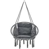 Siège Rond avec Coussin Hamac Chaise Suspendue à Franges Jusqu'à 150kg avec 4 Cordes d'attache pour Intérieur Extérieur Diamètre d'Assise 60 cm Gris Foncé