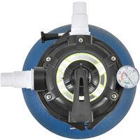 Pompe Filtre à Sable pour Piscines 12-20 m³ 400 W avec Manomètre Entretien Nettoyage avec Vanne 5 Voies Débit de Filtration 10.000 l/h Plastique Cuivre Diamètre 30 cm Bleu
