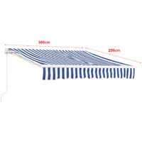 Store Banne Rétractable Manuel Marquise à Bras Articulé avec Manivelle Montage Mural Inclinaison Réglable Aluminium Polyester 300 x 250 cm Bleu Blanc