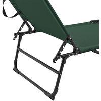 Transats [2er Set] pliable 190cm vert foncé avec toiture pare-soleil de relax acier