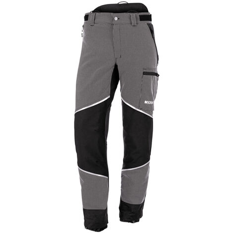 KOX Pantalon de protection anti-coupures Caribou 2.0, 102 taille élancée - Noir/gris