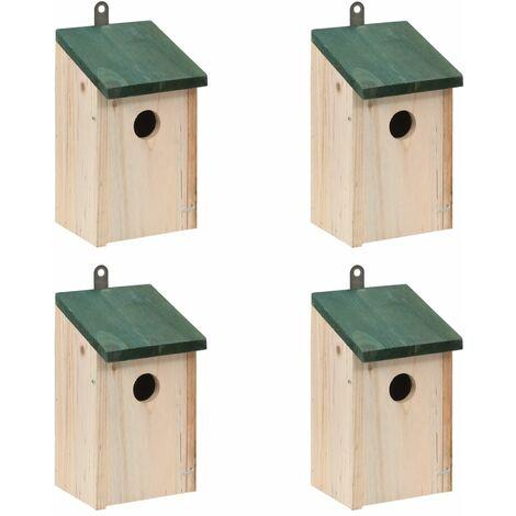 Nichoir oiseaux pour extérieur 4 pièces en bois 12x12x22 cm - noir