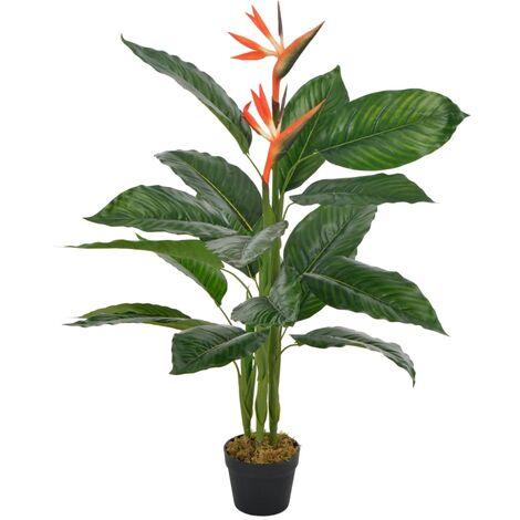 Plante fleur artificielle strelitzia avec pot rouge 100 cm décoration intérieur - or