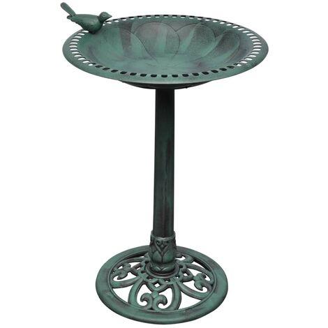 Bain d'oiseau sur pied vert avec oiseau décoratif 54x50x76 cm - or