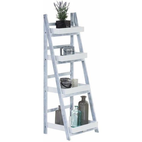 Echelle étagère escaliers 4 niveaux en bois pliable meuble rangement - noir