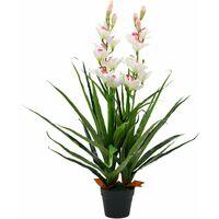 Plante artificielle orchidée cymbidium avec pot 100 cm vert - or