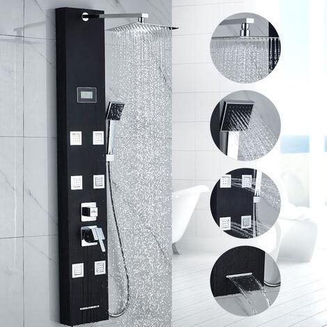 AuraLum Panel de Ducha Moderna Acero Inoxidable Columna de Hidromasaje para Baño, Color Negra