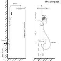 Auralum Columna de ducha Termostática 38ºC Negro Cuadrado Conjunto de Ducha con 10 pulgadas Ducha Lluvia+Ducha de Mano con boquillas anticalcáreas, Barra Ajustable 745-1295mm