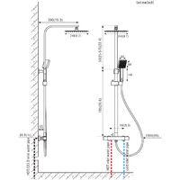 2x Auralum Columna de ducha Termostática 38ºC Cuadrado Conjunto de Ducha con 10 pulgadas Ducha Lluvia+Ducha de Mano con boquillas anticalcáreas, Altura Ajustable 755-1275mm