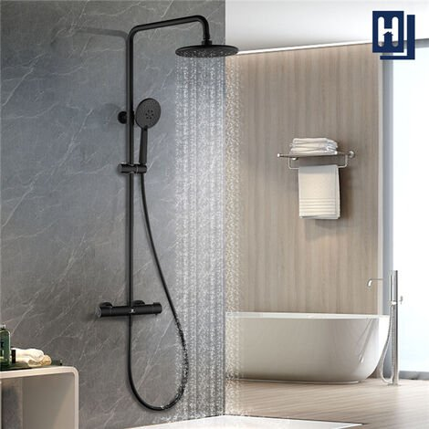 Thermostatic Shower Set, Black Exposed Thermostatic Shower System with Rain Shower Head and Hand Shower, Height and Angle Adjustable, HOMELODY