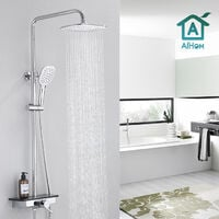 """Thermostatic Shower System with shelf, Shower Faucet Set for Bathroom with High Pressure 10"""" Rain Shower head and 3 Setting Handheld Shower Head Set"""
