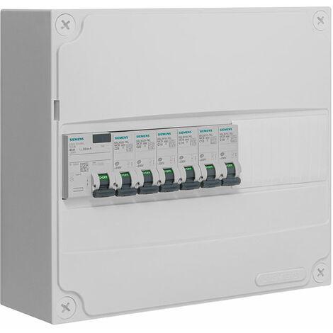SIEMENS - Tableau électrique pré-équipé 1 rangée 13 modules 6 disjoncteurs 1 interrupteur différentiel