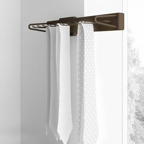 Porte-cravates latéral extractible, fermeture amortie, Aluminium et plastique, Couleur moka