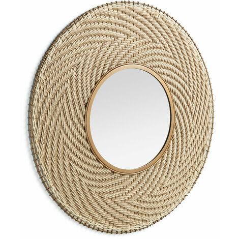 Kave Home - Espejo de pared Klevin dorado redondo Ø 80 cm de acero y cuerda trenzada