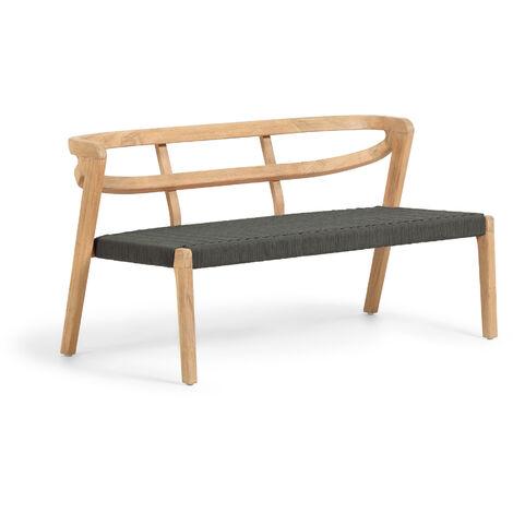Kave Home - Sofá Ezilda 2 plazas madera maciza eucalipto y cuerda verde 122 cm FSC 100%