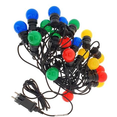 Guirnalda LED 10 metros con 20 bombillas Rojas + Verdes + Azul y Amarillo IP44
