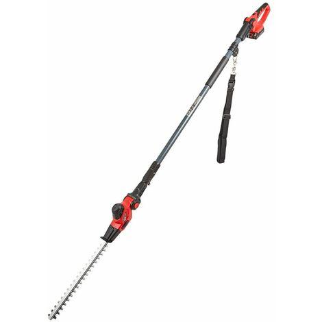 Taille-Haie Sans Fil et Manche Télescopique de 2,4m, Batterie Li-Ion et Chargeur - Rouge