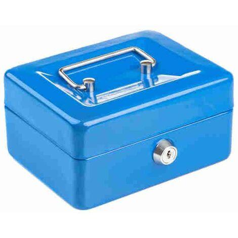 Caisse à Monnaie/ Objets de Valeur Compacte Verrouillable en Acier Solide - 6Po - Bleu