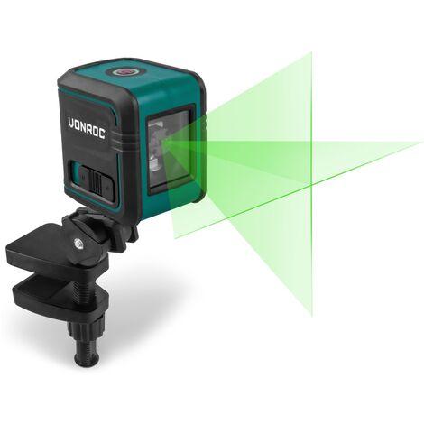 Niveau Laser. Portée de 18 mètres - Ligne verte - Autonivelant - Support de montage, sac de rangement et piles inclus