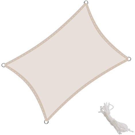 Toldo Vela Rectangular 2x3m Vela de Sombra para Exteriores Patio Jardín Protección UV PES Impermeable, Color Crema