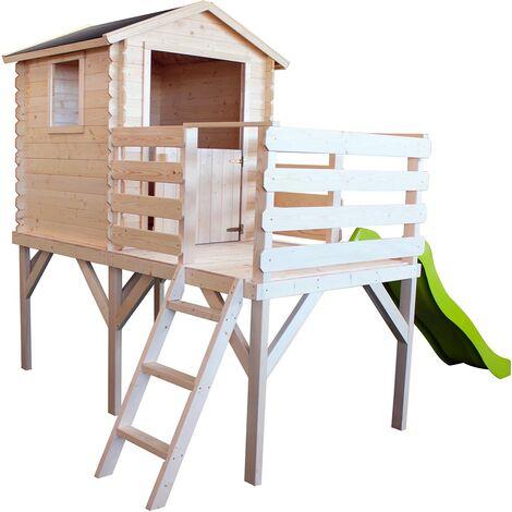 Cabane en bois sur pilotis avec toboggan et échelle - Alice