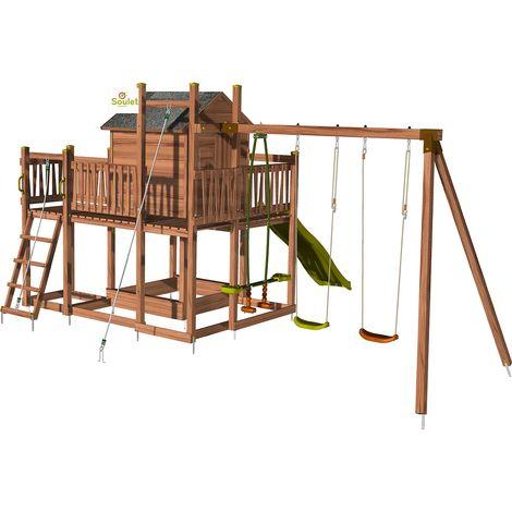 Aire de jeux pour enfant maisonnette avec portique et corde à gr
