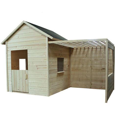 Cabane en bois avec plancher et tonelle - Mimosa