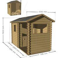 Cabane en bois avec préau pour enfant - Rosane