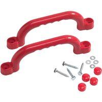 Jeu de poignées en plastique Rouge - Pour Aire de Jeux et Cadres d'Escalade – 250 x 75 mm
