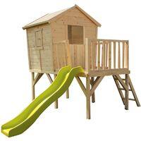 Cabane en bois sur pilotis et toboggan pour enfants - Morgane