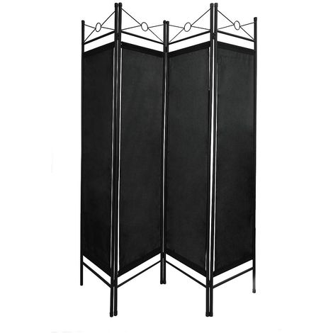 Biombo, Divisor de Habitaciones, 180 x 160 cm, Negro, Panel: 100% Poliéster