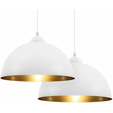 2 suspensions design vintage blanches luminaire plafonnier salon salle à manger