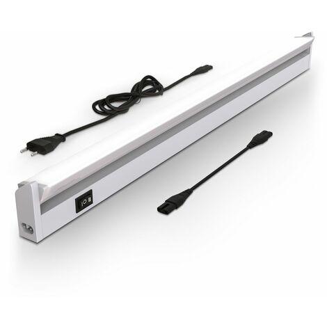 Réglette LED barre lumineuse placard pivotable de 150° pour cuisine atelier couleur argent