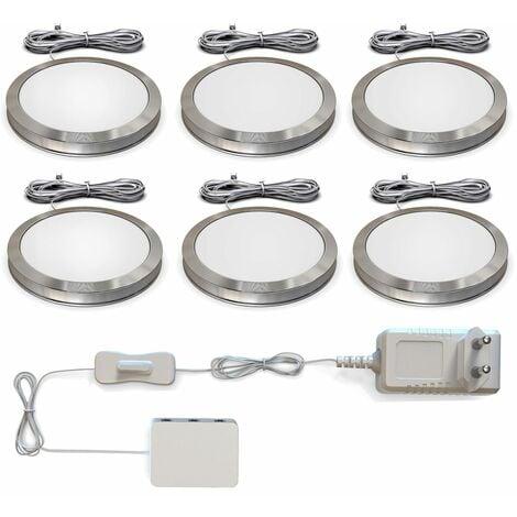 6 spots sous meuble LED éclairage armoire élément cuisine spots en saillie ultra-plats