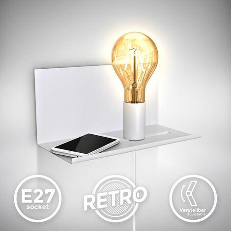 Applique murale réglable luminaire mural rétro lampe de chevet avec étagère interrupteur finition blanche matte E27 Lampe murale rétro