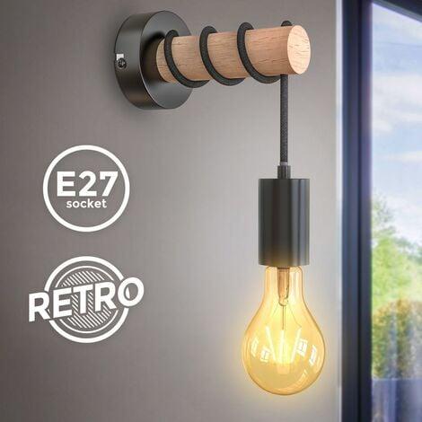 B.K.Licht applique murale, design rétro industriel, bois & métal, éclairage salon & chambre, douille E27, pour ampoule LED 10W max, noir