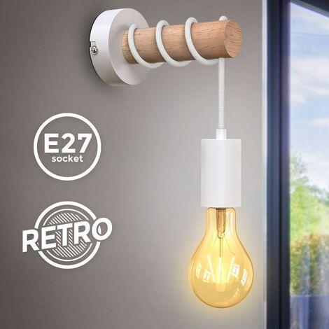 Applique murale design rétro industriel bois & métal éclairage salon & chambre douille E27 blanc