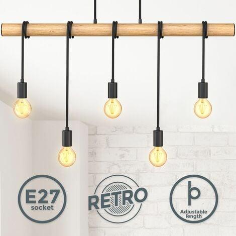 B.K.Licht Lampe à suspension à flamme I métal et bois I E27 I noir mat I lampe à suspension vintage I plafonnier rétro I sans ampoule