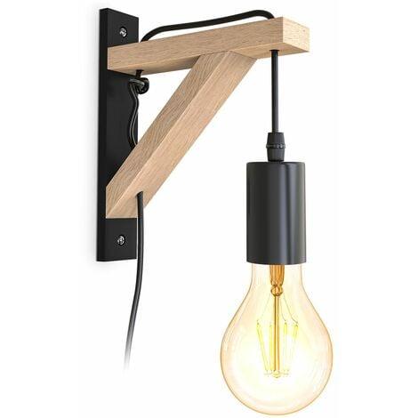 B.K.Licht I applique en bois I bois naturel noir I interrupteur à câble de 2,5 m I E27 I 1 flamme I sans ampoule