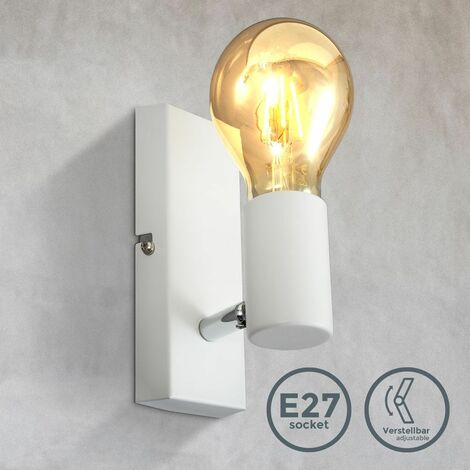 B.K.Licht Applique murale, luminaire vintage, spot mural design rétro, orientable & pivotant, douille E27, 60 Watt max, ampoule non fournie, éclairage intérieur salon, salle à manger, couloir