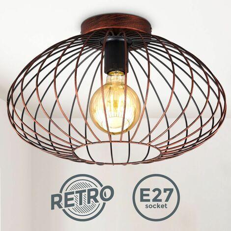 B.K.Licht I Plafonnier en fil de fer I 40 cm de diamètre I douille E27 I Lustre vintage avec abat-jour métallique en cuivre I livré sans ampoule