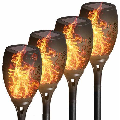 Set de 4 lampes solaires I torches LED pour l'extérieur I IP44 I On/Off automatique par détecteur crépusculaire