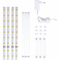 Set de 4 bandes LED à 50cm (2m au total) blanc éclairage décoratif cuisine vitrine télé connecteurs inclus